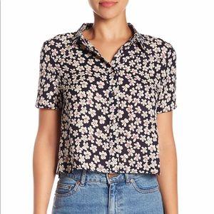 BLVD Short Sleeve Floral Print Blouse Shirt